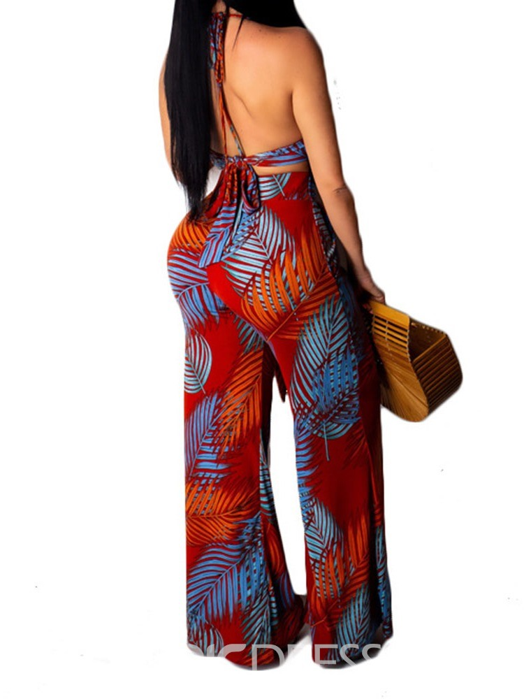 Ericdress Backless Print Plant Wide Legs Casual Vest And Pant Two Piece Sets