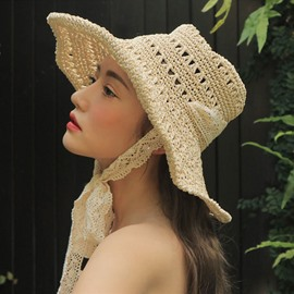 Ericdress Lace-Up Straw Hat