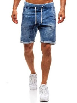 Ericdress Plain Lace-Up Skinny Mens Mid Waist Zipper Shorts