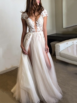 Ericdress Cap Sleeve Appliques Split-Front Beach Wedding Dress 2019