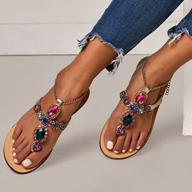 Ericdress Rhinestone Thong Buckle Block Heel Women's Flat Sandals
