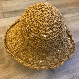 Ericdress Straw Hollow Plain Pearl Hat