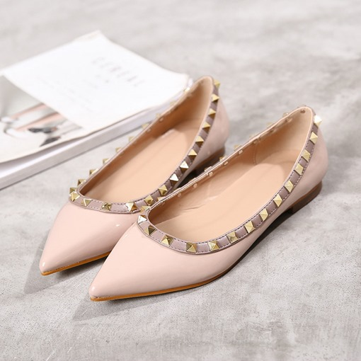 Ericdress Rivet Color Block Slip-On Pointed Toe Women's Flats