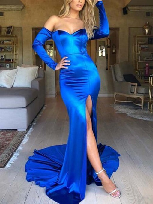 Ericdress Mermaid Off-The-Shoulder Long Sleeves Evening Dress 2019