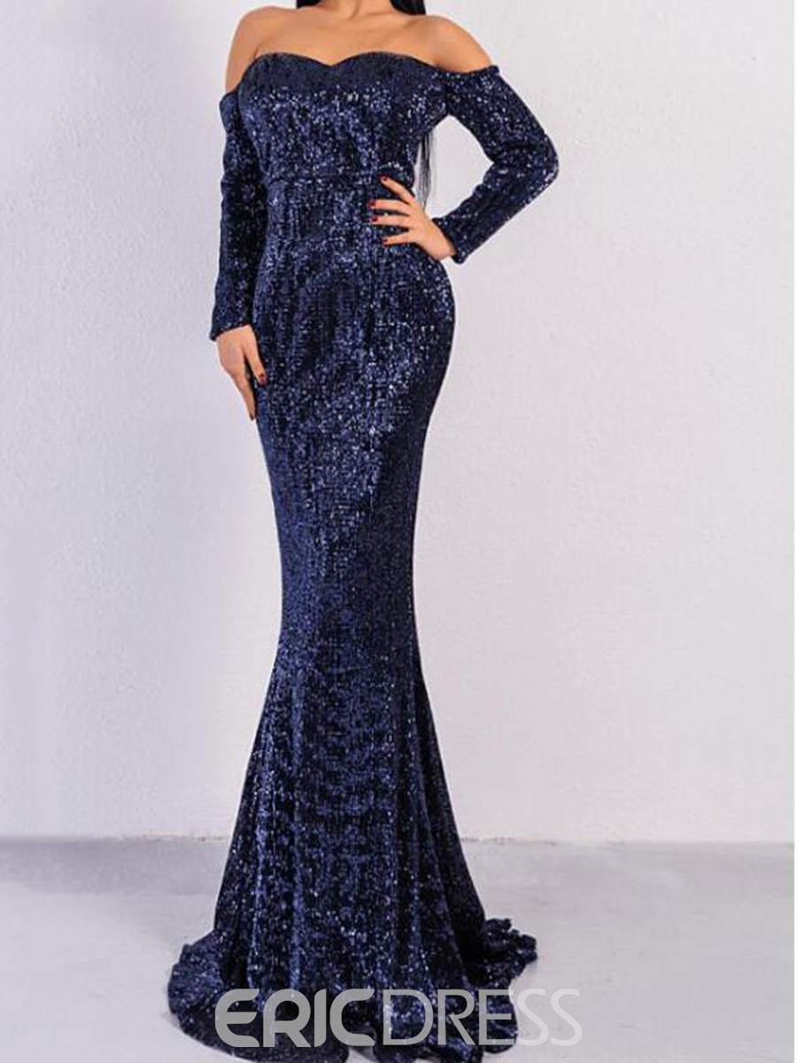 Ericdress Off-The-Shoulder Sequin Long Sleeves Mermaid Evening Dress