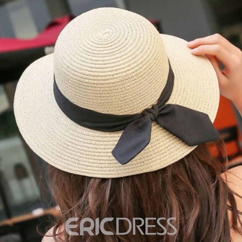 Ericdress Straw Plaited Article Riband Fall Plain Hat