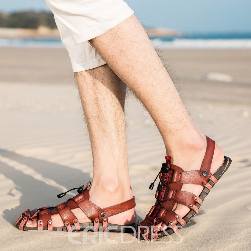 Ericdress PU Hollow Slip-On Men's Sandals