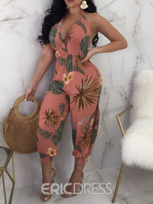 Ericdress African Fashion Floral Backless Print Travel Look Slim Jumpsuit
