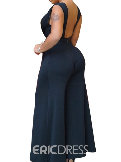 Ericdress Plain Sexy Backless Slim Wide Legs Jumpsuit