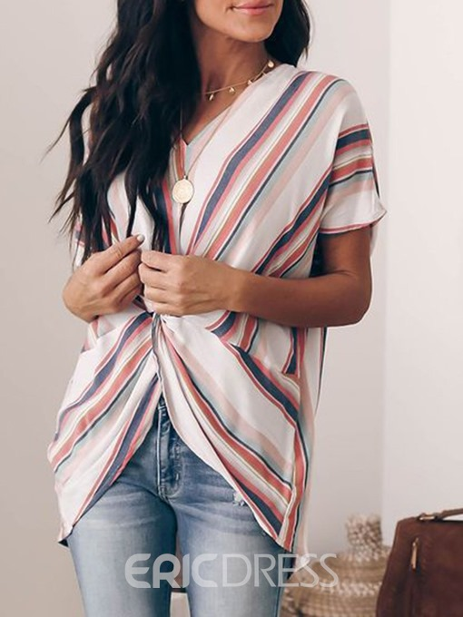Ericdress V-Neck Pleated Color Block Short Sleeve Loose Blouse