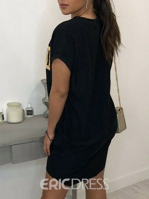 Ericdress Round Neck Letter Short Sleeve Casual T-Shirt