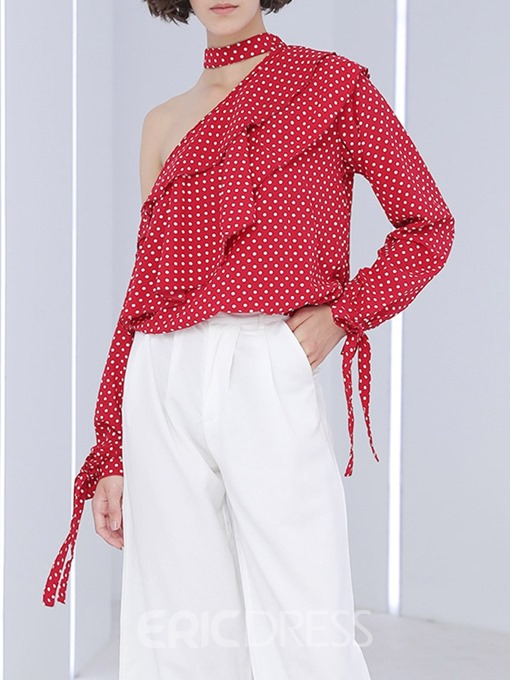 Ericdress Oblique Collar Asymmetric Polka Dots Fashion Blouse