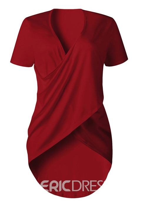 Ericdress Asymmetric Pleated V-Neck Casual T-Shirt