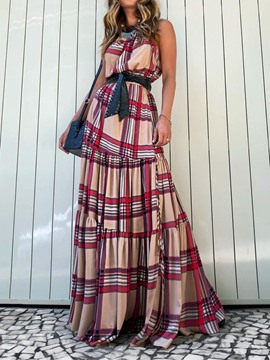 Ericdress Plaid Lace-Up Floor-Length Sleeveless Pullover A-Line Dress
