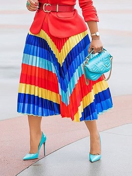 Ericdress Color Block Pleated Mid-Calf Fashion Skirt