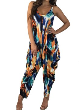 Ericdress Color Block Loose Ankle Length High Waist Jumpsuit