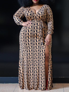 Ericdress Plus Size African Fashion V-Neck Floor-Length High Waist Pullover Dress