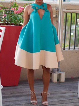 Ericdress Backless Knee-Length Sleeveless Color Block Pullover Dress