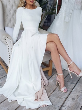 Ericdress Long Sleeves Asymmetry Beach Wedding Dress