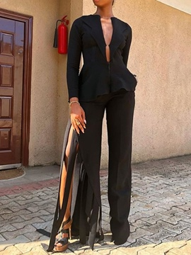 Ericdress Asymmetric Sexy Tassel Plain Shirt And Pant Two Piece Sets