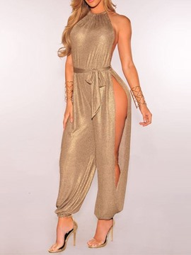 Ericdress Sexy Full Length Plain Belt Mid Waist Loose Jumpsuit