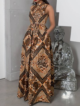 Ericdress Floor-Length Print Sleeveless Standard-Waist Geometric Dress