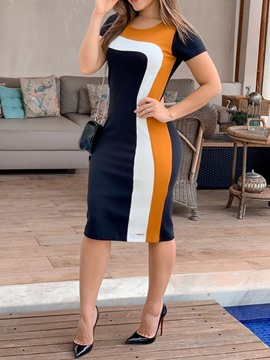Ericdress Round Neck Patchwork Mid-Calf Bodycon Color Block Dress