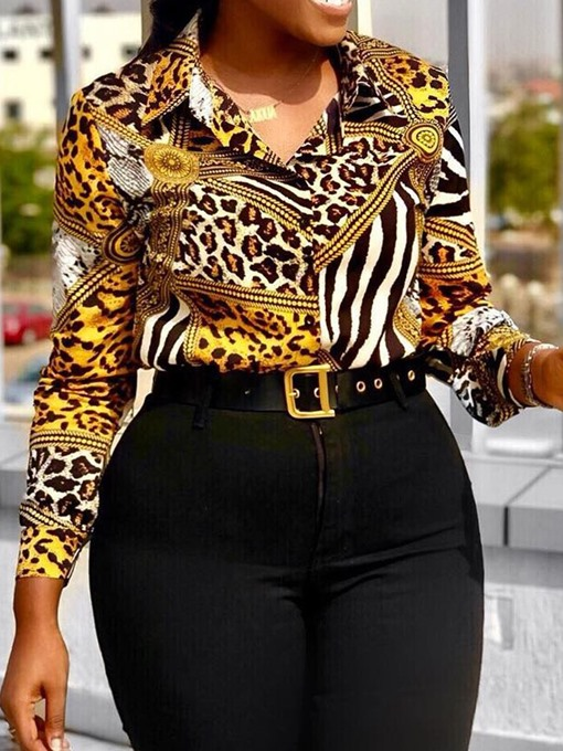 Ericdress African Fashion Print Leopard Blouse