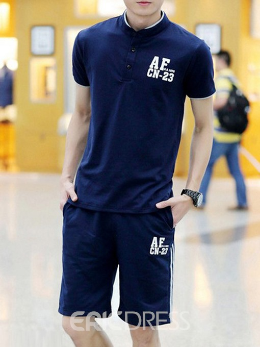 Ericdress Pocket Casual Letter Mens Summer Outfit