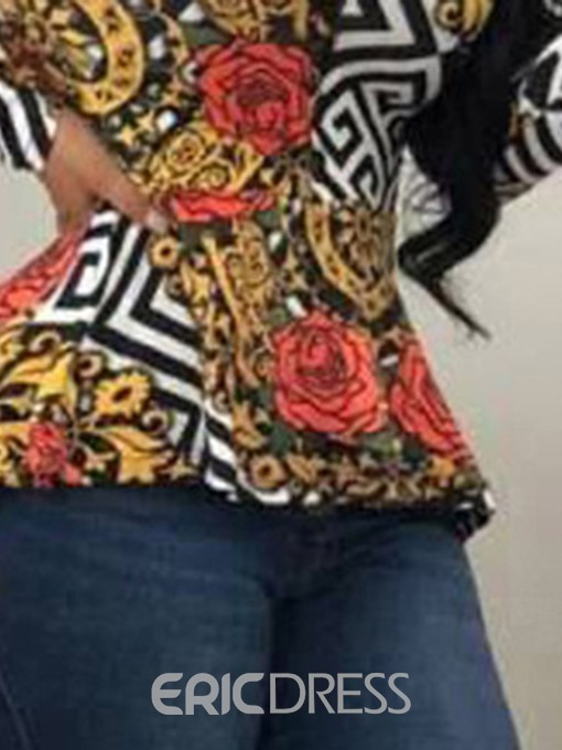 Ericdress African Fashion Print Floral Mid-Length Blouse
