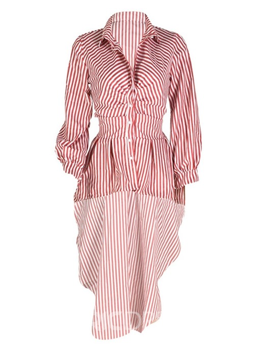Ericdress Stripe Lapel Lantern Sleeve Mid-Length Blouse