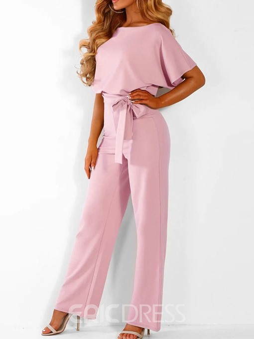 Ericdress Plain Full Length High Waist Loose Belt Jumpsuit