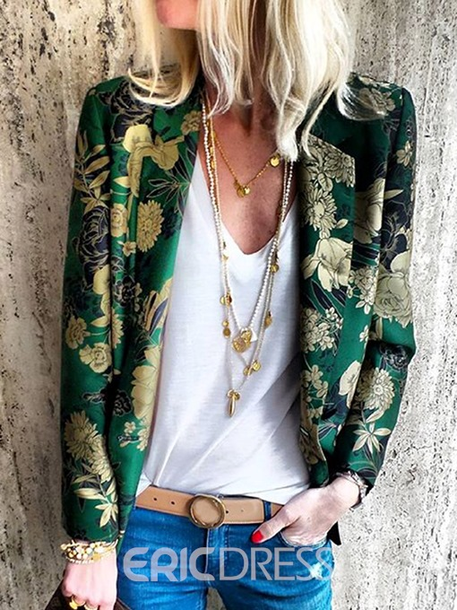 Ericdress Notched Lapel Floral Fashion Jacket