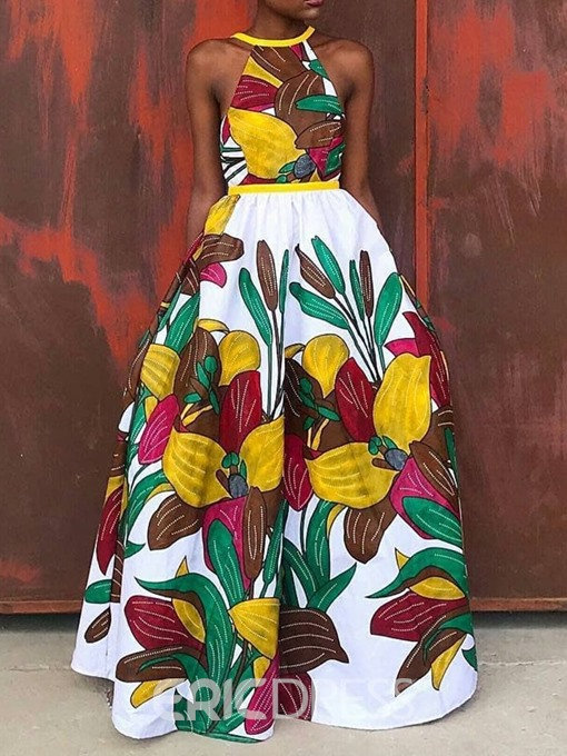 Ericdress African Fashion Floor-Length Sleeveless Floral Expansion Dress
