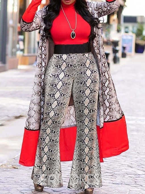 Ericdress Print Serpentine Color Block Patchwork Bellbottoms T-Shirt And Coat And Pant Three Piece Sets(Without Belt)