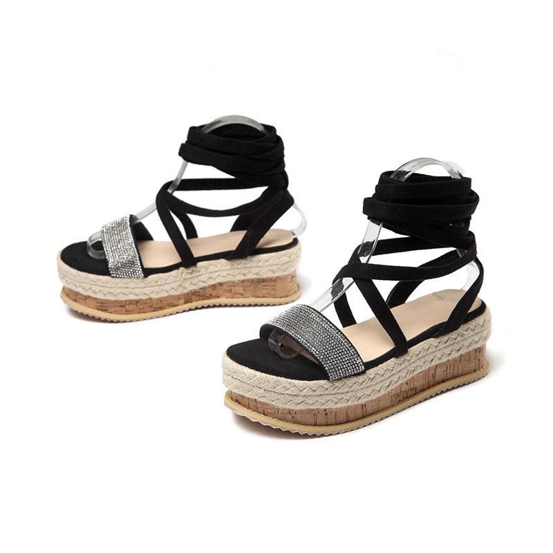 Ericdress PU Lace-Up Open Toe Platform Women's Sandals