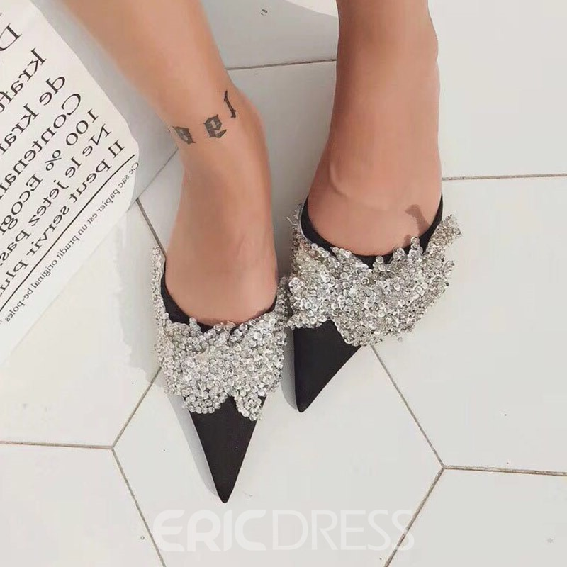 Ericdress Rhinestone Slip-On Stiletto Heel Women's Mules Shoes