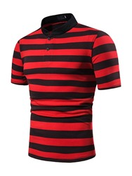 Ericdress Stripe Stand Collar Casual Mens Polo Shirt фото