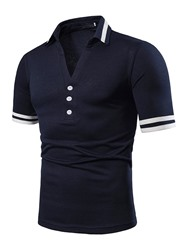 Ericdress Patchwork Color Block Mens Casual Summer Polo Shirt фото