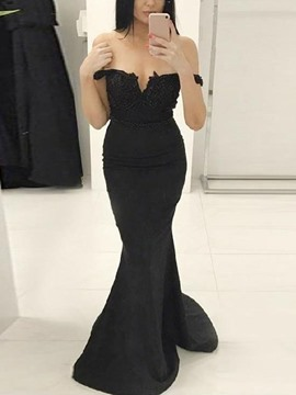 Ericdress Off-The-Shoulder Mermaid Black Formal Dress 2019