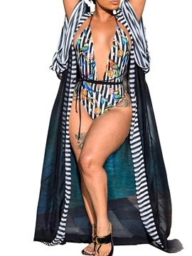 Ericdress Stripe One Piece Western Swimwear