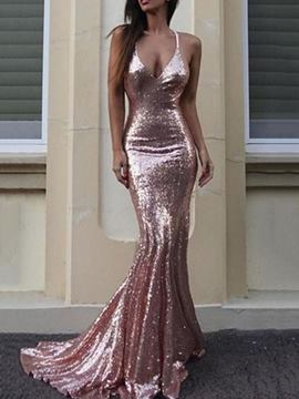 Ericdress Spaghetti Straps Mermaid Sequins Evening Dress 2019