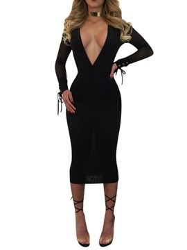 Ericdress Mid-Calf See-Through Long Sleeve Mid Waist Plain Dress