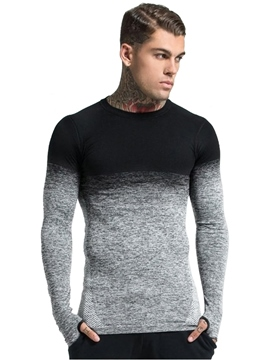 Ericdress Round Neck Gradient Casual Mens Wrapped Slim T-shirt