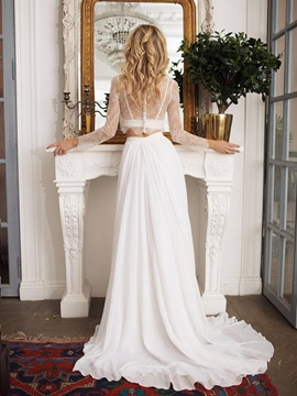 Ericdress Jewel Neck A-Line Beach Wedding Dress 2019