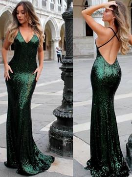 Ericdress Sleeveless Sequins V-Neck Mermaid Evening Dress 2019