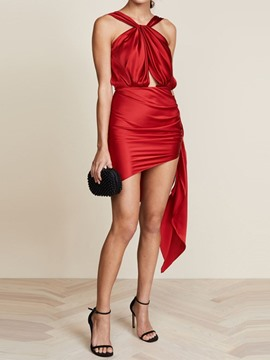 Ericdress Backless Sleeveless Above Knee Halter Mid Waist Dress