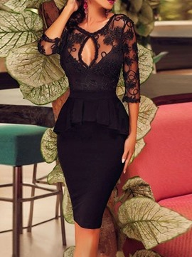 Ericdress Knee-Length Backless Round Neck Pullover Floral Dress