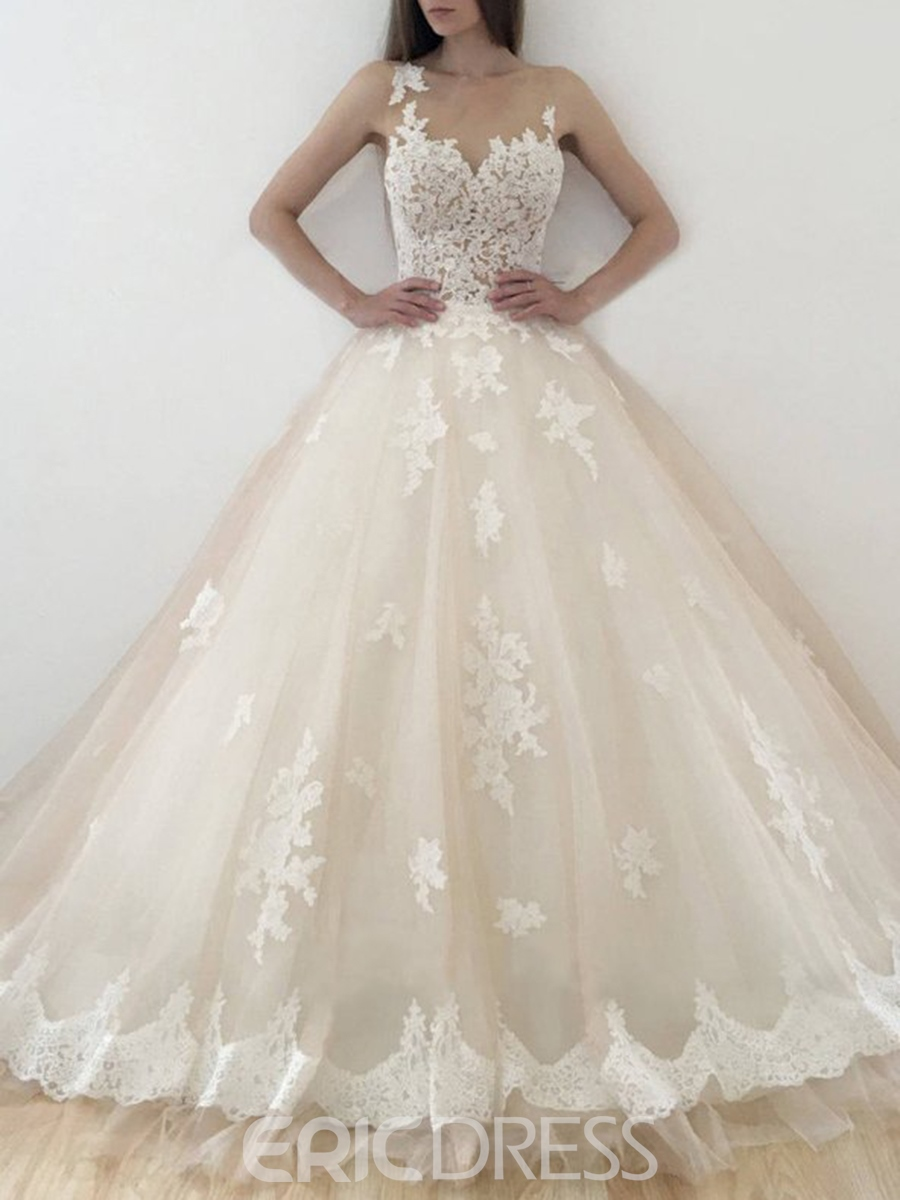 Ericdress A-Line Sleeveless Bateau Church Wedding Dress 2019