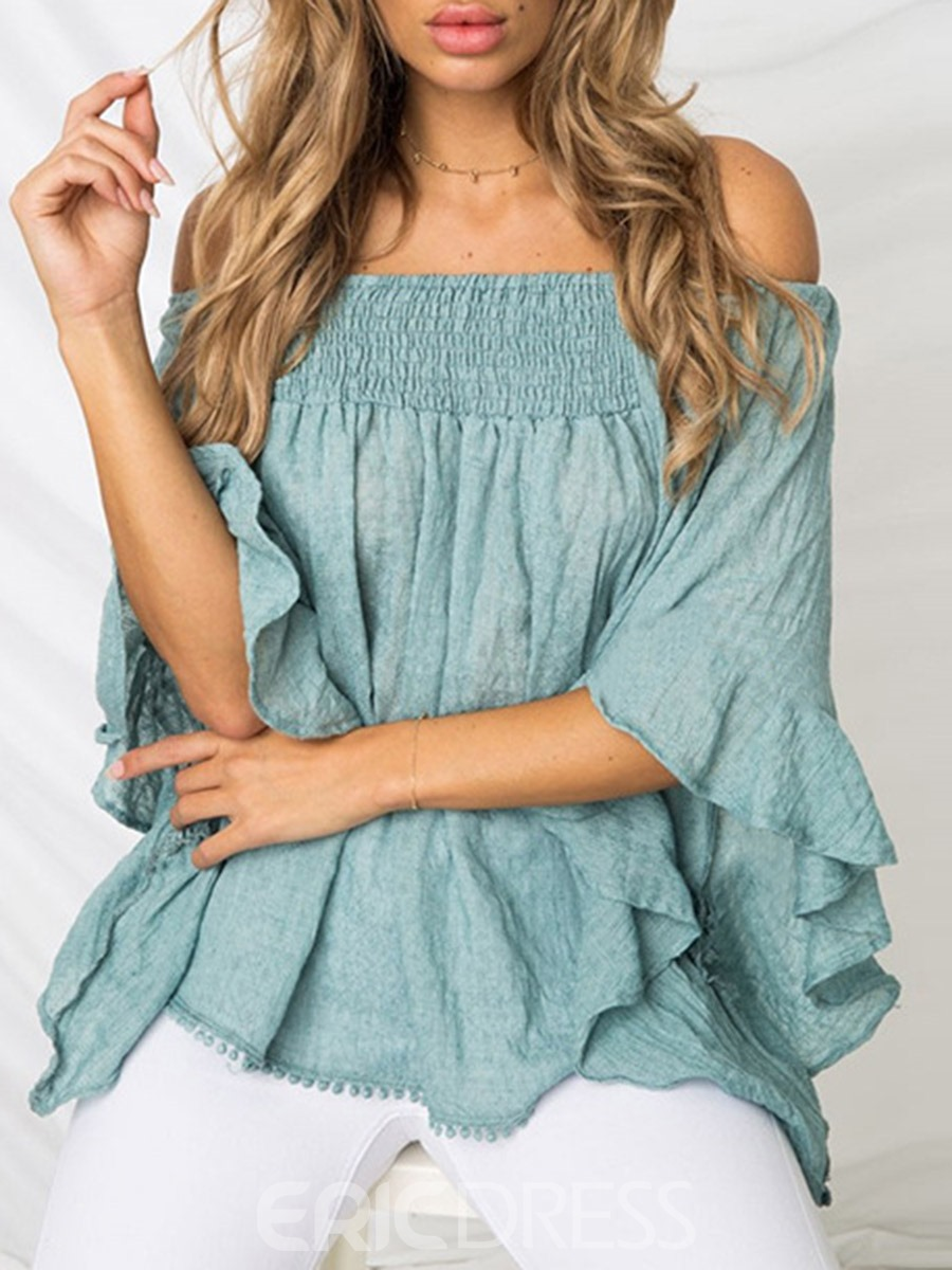 Ericdress African Fashion Asymmetric Off Shoulder Blouse